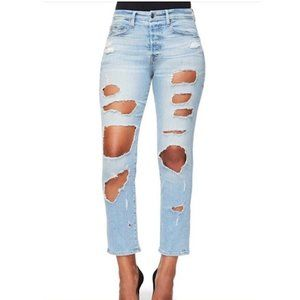 Good American Good Cuts Distressed High Rise Jeans